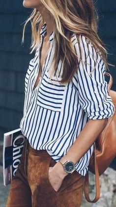 stripe blouse + suede pants