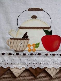 It's tea Time Wool Applique, Applique Patterns, Applique Quilts, Applique Designs, Embroidery Applique, Quilt Patterns, Machine Embroidery, Mini Quilts, Quilting Projects