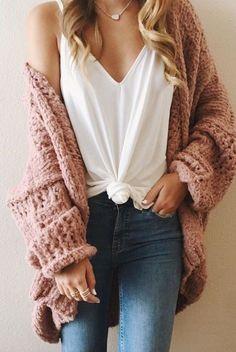 chunky knit sweater + white tee + denim