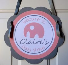 Girl Baby Shower Decorations  Elephant Welcome by PartyandMore, $12.00