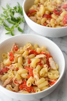Pasta Salad with Roasted Peppers, Tuna & Oregano