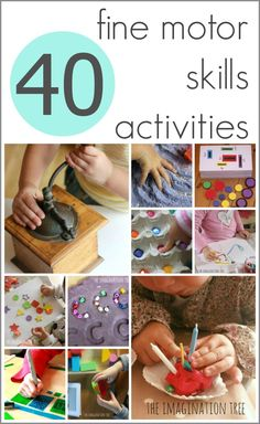 Here is a collection of 40 fine motor skills activities for young children that are easy to set up and promote a whole range of basic learning skills.