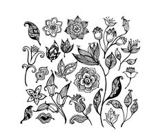 Bright petals mark the hibiscus, a Illustration of Black and white floral seamless pattern with hand drawn flowers vector art, clipart and stock vectors. Description from stopatternov.com. I searched for this on bing.com/images