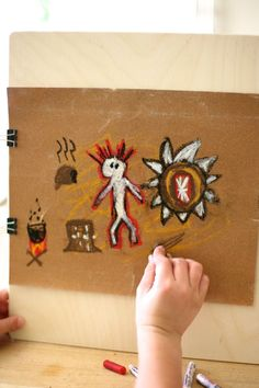 Native American Cave Painting art project for kids - combining social studies & art for elementary age kids