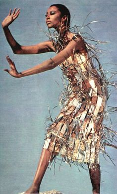 Donyale Luna wearing Paco Rabanne by Richard Avedon (1967)