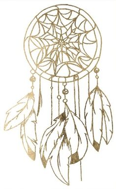 """Gold Dream Catcher Temporary Tattoo. 4"""" x 6.5"""". Lasts 5-7 days even with swimming and bathing!. Easy to put on and easy to remove!. Skin safe using FDA approved ingredients."""
