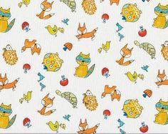 Patchworkstoff FOX PLAYGROUND, Waldtierkinder, weiß-orange