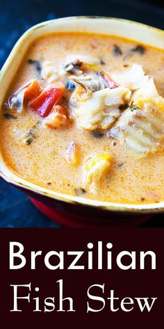 Moqueca – Brazilian Fish Stew ~ Brazilian moqueca, a fish stew made with firm white fish, onions, ga Fish Dishes, Seafood Dishes, Seafood Recipes, Soup Recipes, Cooking Recipes, Healthy Recipes, Cooking Bacon, Cooking Games, Fish Crockpot Recipes