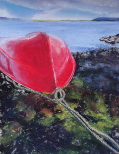 Red Boat, Laugarvatn Lake, Iceland.  pastel drawing by Susan Singer 2016.  www.susansinger.com.  All rights reserved. Iceland In May, Iceland Pictures, Pastel Drawing, Boat, Singer, Drawings, Creative, Red, Painting