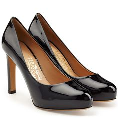 Little Black Shoes Salvatore Ferragamo Patent Leather Platform Pumps
