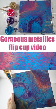 Acrylic pouring flip cup video tutorial using metallic paints