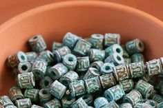 Greek Small Barrel Beads Mini Tube Metal Spacers Green Patina on Copper Metal Casting Mykonos Greek 5x5mm, 10 Pc - MK52 by TreeTerracom on Etsy