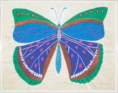 Paule Marrot's Blue Butterfly on Belgian Linen in Acrylic Frame Framed Printon Archival Vellum Art: 54