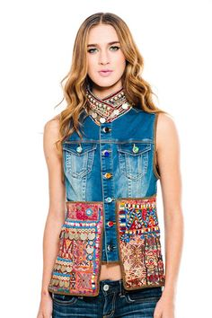Denim Vest With Pockets | Ouistudio One-of-a-kind classic denim vest. From Greece, the original and contemporary collection of one-of-a-kind styles handcrafted with vintage and antique fabrics and ornamentation.
