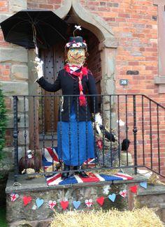 Mary Poppins Scarecrow- What makes 'Great' Britain. Scarecrow Movie, Scarecrow Festival, Halloween Scarecrow, Outdoor Halloween, Halloween 2018, Fall Halloween, Scarecrow Ideas, Halloween Party, Scarecrows For Garden