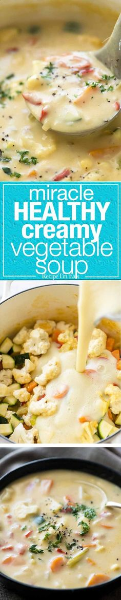 Its a miracle - this creamy soup is super low cal, low carb, gluten free and unbelievably tasty. The secret: peeled zucchini, cauliflower, onion and garlic cooked then pureed. Imagine the possibilities!