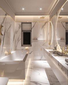 Gorgeous Marble Bathroom Design Ideas - The Wonder Cottage Home Room Design, Dream Home Design, Decor Interior Design, House Design, Luxury Interior, Kitchen Design, Design Bedroom, Bedroom Decor, Dream House Interior