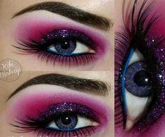 101 Eye Make Up Tutorials From Around The World Hot Carnival Look: Sexy Eye Makeup, Love Makeup, Makeup Art, Makeup Looks, Hair Makeup, Makeup Ideas, Amazing Makeup, Purple Makeup, Dramatic Makeup