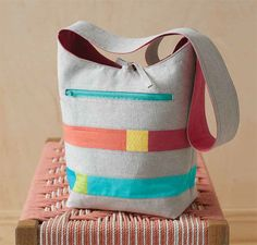 Modern Color Block Bucket Bag PDF Sewing Pattern + Exposed Zipper Insertion Tutorial