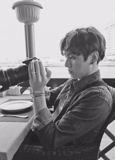 "[Jeon] I was at a restaurant and was waiting for the rest of my original group from across the sea to arrive with Jimin. I looked at the photos i took as a waiter came by and asked. ""You gonna order yet?"" I look up and stutter a bit. ""I'm.. waiting for people.. could i get a few more minutes?"" I raise my eyebrows in question and smile a bit."