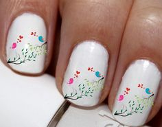 20 pc  Love Birds Love In The Trees Hearts Nail Art Nail Decals Nail Stickers…