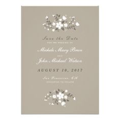 Customize this Stylish Beautiful Contemporary Modern Pretty Floral Save the Date Flat Card, fully customizable and set as a template for your easy customization. White flowers on a tan beige background make this invitation look lovely rustic. You can also change the corners of this invitation to rounded which will work perfectly with this design. Matching Wedding Invitation, RSVP Card, Bridal Shower Invitation, Rehearsal Dinner Invitation, Thank You Card and Address Labels are listed below…