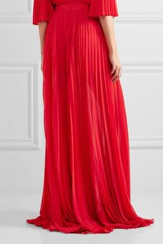 Elie Saab - Pleated Georgette Wide-leg Pants - Red - FR36