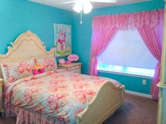 Adorable princess themed little girls room! Compliments of my 5 year old cousin Madison. Bedding is from Neiman Marcus, pictures and nightstand decorations from Homegoods