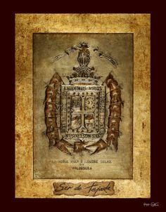 Escudo heráldico del apellido, Ser de Tejada..... Medidas: 47X32.