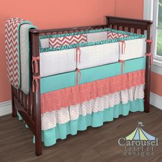Crib bedding in Coral Zig Zag, Coral and Gray Triangles, Natural Minky Chenille, Solid Teal, Coral Scribbles. Created using the Nursery Designer® by Carousel Designs where you mix and match from hundreds of fabrics to create your own unique baby bedding. #carouseldesigns