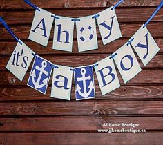 Ahoy its a boy Banner,Nautical baby shower, nautical banner sign, Baby Shower Banner, Welcome Baby Banner, Birth announcement,Nursery Banner Engagement Photo Props, Engagement Party Decorations, Bridal Shower Decorations, Reception Decorations, Baby Banners, Shower Banners, Flag Banners, Welcome Baby Banner, Its A Boy Banner