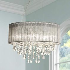 "Possini Euro Metairie 20""W Silver Fabric Crystal Chandelier - #W7974 