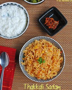 Tomato rice - Nothing beats a flavorful meal of thakkali sadam with garlic to add one the flavor and taste!