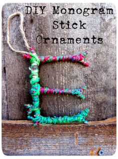 3squeezes: DIY Monogram Stick Ornaments