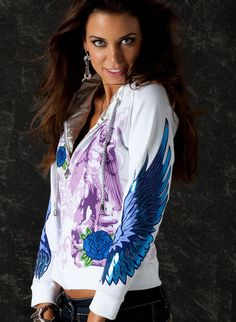 Glam Rock Zip Up Women Hoodie Blue Archangel Luxury Urban Wear Sporty Chic, Sporty Look, Unique Hoodies, Rock Outfits, Rose Embroidery, Blue Roses, Glam Rock, Short Skirts, Blue Skirts