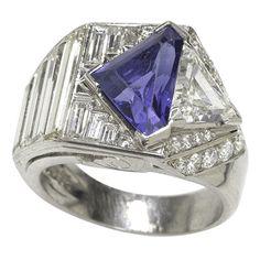 Superb Art Deco Diamond & Sapphire Ring. Baguette diamonds & fancy-cut sapphire, set in platinum. Sapphire approx 2.0 carats, diamonds approx 1.25 cts.  USA, ca 1937s.