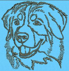 embroidery designs bernese mountain dogs | Bernese Mountain Dog Portrait - Vodmochka Embroidery Design Picture ...