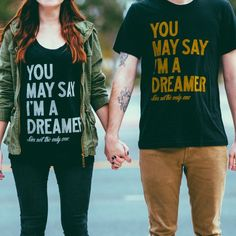 Calling all dreamers! Are you with us?? {Purchase of this shirt donates $7 to Sevenly's charity of the week!} #sevenly #thebeatles #johnlennon #quote #dreamer