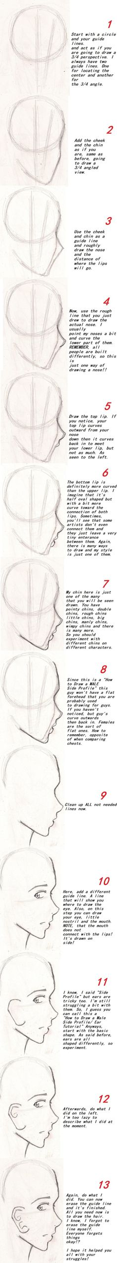How to Draw Male Side Profile by shoujoartist.deviantart.com on @deviantART