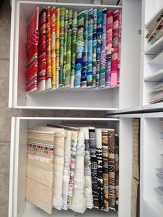 Ribbon Storage - Scrapbook.com.. this is a super cool idea. Cut down foam board, wrap ribbon around it, store in drawer.