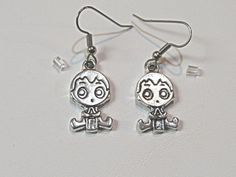 Baby Boy Pewter earrings.  Gender announcement.  by NammersCrafts