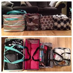 ThirtyOne Utility Totes Left to Right: Deluxe, Large, Medium & Square. #totes #flirtyonederful