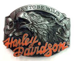 Harley Davidson Born To Be Wild-Biker Belt Buckle-Solid-Biker-Motorcycle-Chopper.  Ceinture, Boucles ... 34fc5ccfa82