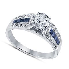 Round White Sim Diamond & Blue Sapphire Wedding Ring With 14k White Gold Plated #SolitairewithAccents