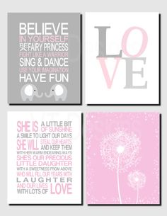 Baby Girl Nursery Art, Pink Gray, Dandelion, Daughter Quote, Elephant, Love, Toddler Girl, Printable Nursery Art, Gift for Daughter,Set of 4 by VTDesignsPrintables on Etsy