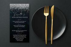 New Years Eve Invitations, Bridal Invitations, Sweet 16 Invitations, Wedding Invitation Cards, Birthday Invitations, Glitter Confetti, Printable Menu, Blacklight Party, Dinner Party Menu