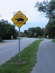 Gopher Tortoise crossing sign - Sanibel Island, FLA  (Do they cross together?)  ( Is the gopher faster?)  hahahaha   lol... ld