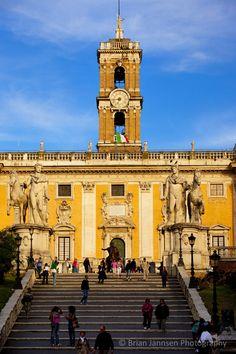 Cordonata staircase designed by Michelangelo leading to Piazza Campidoglio, Rome Lazio Italy. © Brian Jannsen Photography