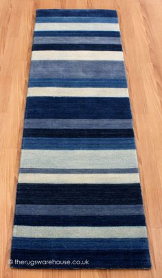 Winslow Stripe Blue Runner, A 100% Wool Striped Hallway Rug In Shades Of  Blue
