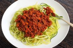 Bolognese Sauce & Zucchini Noodles by paleionewbie #Bolognese_Sauce #Paleo #Zucchini
